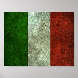 Italian Flag Aged Steel Effect Poster