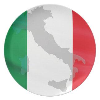 italian flag and Italy Plate