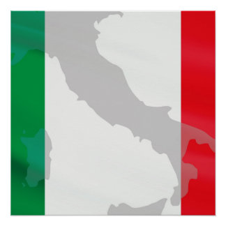 italian flag and Italy Poster