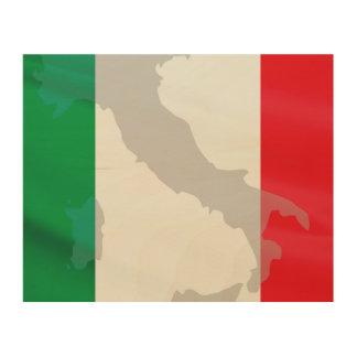 italian flag and Italy Wood Wall Art