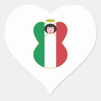 Italian Flag Angel Heart Sticker