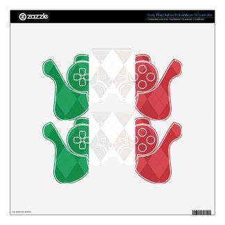 Italian Flag Argyle Playstation 3 Controller Skins Skin For PS3 Controller