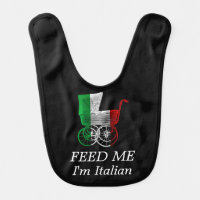 Italian Flag Baby Carriage Feed Me Bib