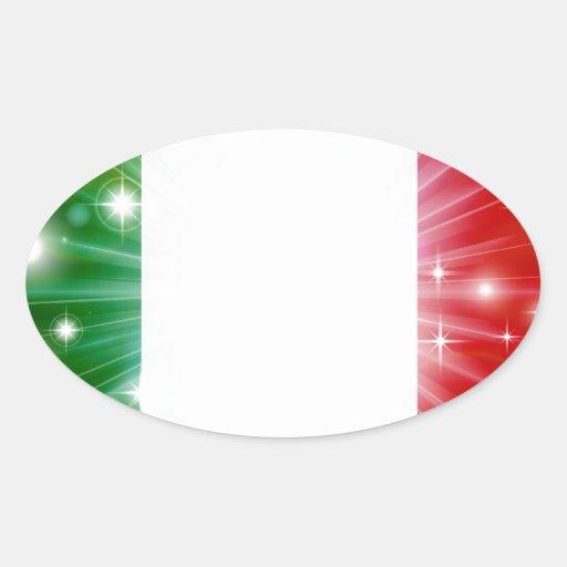 Italian flag background oval sticker
