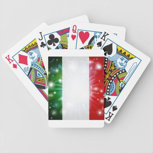 Italian flag background playing cards