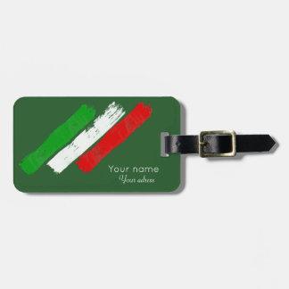 Italian flag.brush strokes. name .text. luggage tag