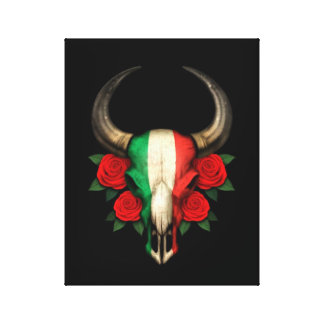 Italian Flag Bull Skull with Red Roses Gallery Wrapped Canvas