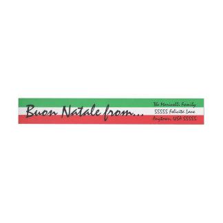 Italian Flag Buon Christmas Greetings Wrap Around Address Label
