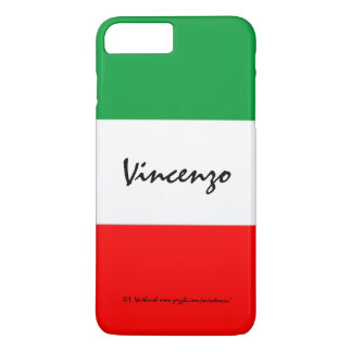 Italian Flag Colors Green White and Red with Name iPhone 8 Plus/7 Plus Case