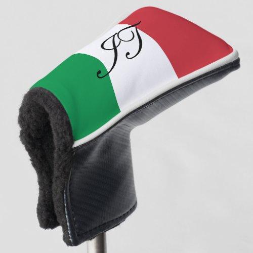 Italian flag custom initial golf head putter cover