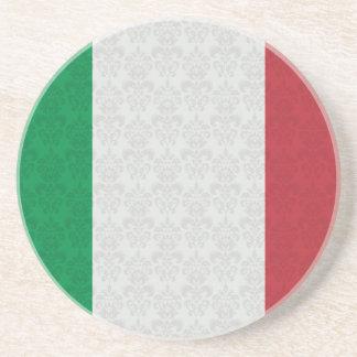 Italian Flag Damask Pattern Beverage Coaster