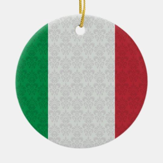 Italian Flag Damask Pattern Ceramic Ornament