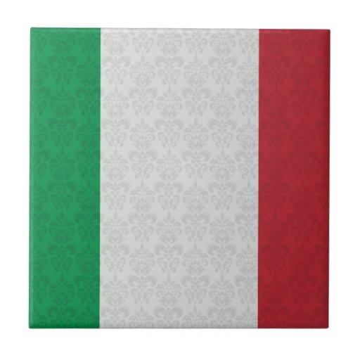 Italian Flag Damask Pattern Ceramic Tile