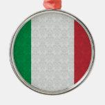 Italian Flag Damask Pattern Christmas Ornaments