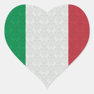 Italian Flag Damask Pattern Heart Sticker