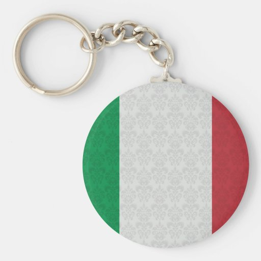 Italian Flag Damask Pattern Keychains