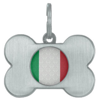 Italian Flag Damask Pattern Pet Name Tag