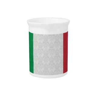 Italian Flag Damask Pattern Drink Pitcher