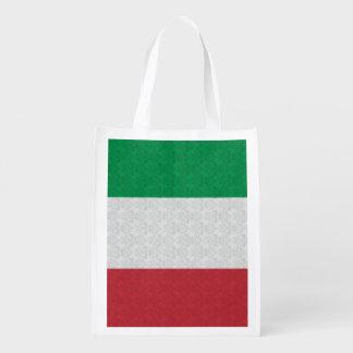 Italian Flag Damask Pattern Reusable Grocery Bag