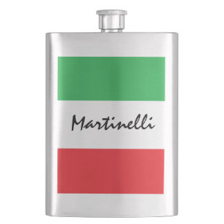 Italian Flag Green White Red Tricolore Personal Hip Flask