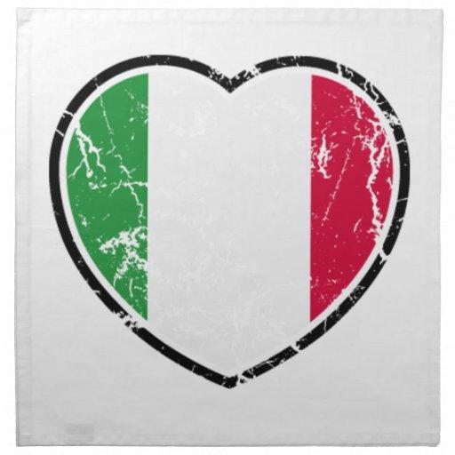 Italian Flag Heart Napkin White