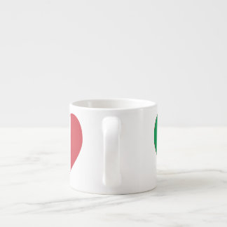 Italian Flag Heart Red Border Espresso Cup