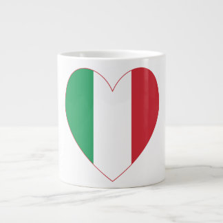 Italian Flag Heart Red Border Giant Coffee Mug