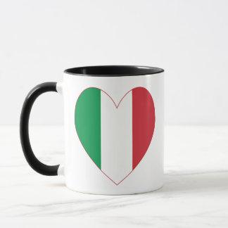 Italian Flag Heart Red Border Mug