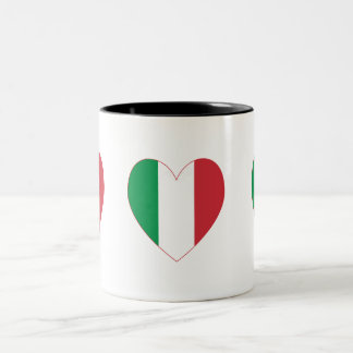 Italian Flag Heart Red Border Two-Tone Coffee Mug