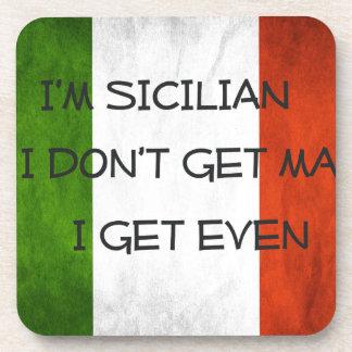 Italian  Flag I don't get mad I get even Beverage Coaster