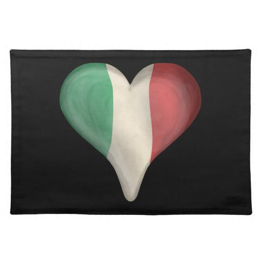 Italian Flag In A Heart Cloth Placemat