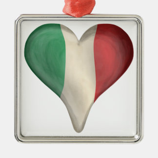 Italian Flag In A Heart Metal Ornament