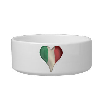 Italian Flag In A Heart Cat Bowls