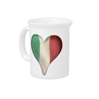 Italian Flag In A Heart Drink Pitchers