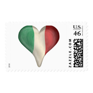 Italian Flag In A Heart Postage Stamps