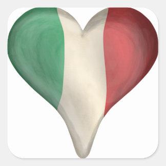 Italian Flag In A Heart Square Sticker