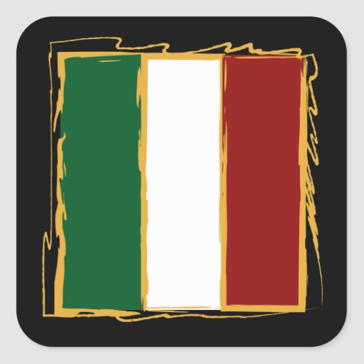 Italian Flag in Abstract Scribble Square Sticker