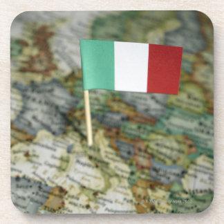 Italian flag in map beverage coaster