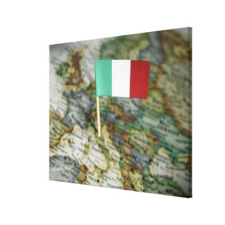 Italian flag in map stretched canvas print
