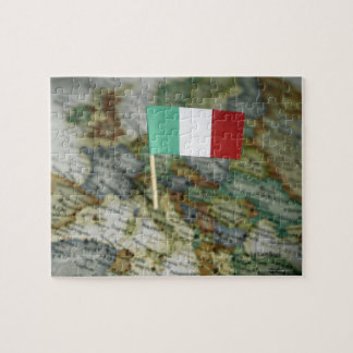 Italian flag in map jigsaw puzzle
