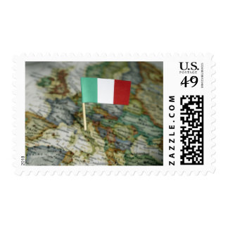 Italian flag in map postage stamp