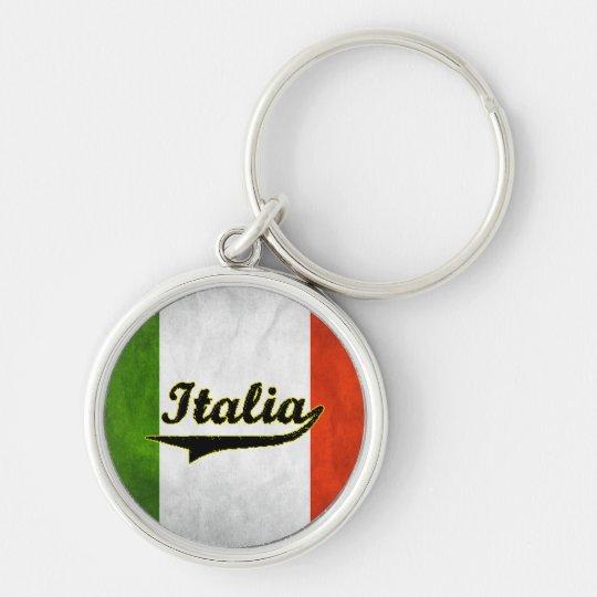 Italian Flag Italia Black Glass Key Chain