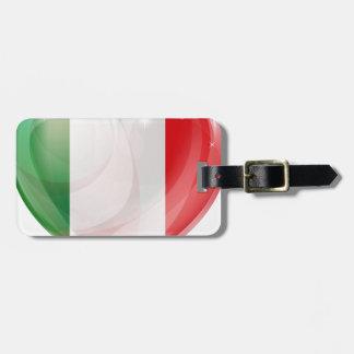 Italian flag love heart tags for bags