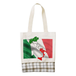 Italian flag map country honor banner zazzle HEART tote bag