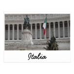 Italian Flag Next To Ancient Roman Ruins Post Cards