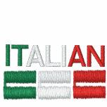 Italian-Flag of Italy Embroidered Hooded Sweatshirt