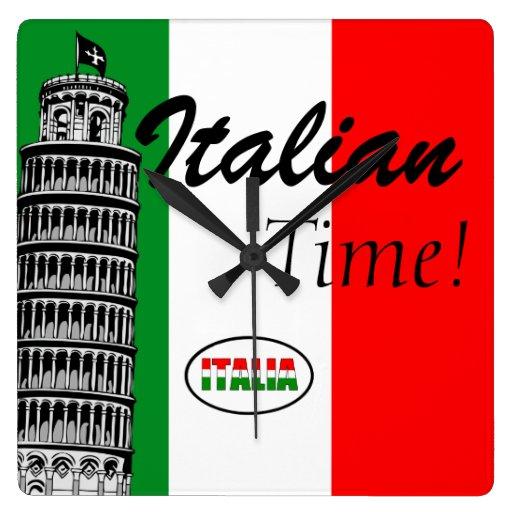 Italian-Flag of Italy Square Wallclocks