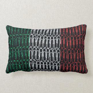 Italian Flag of Paperclips Lumbar Pillow