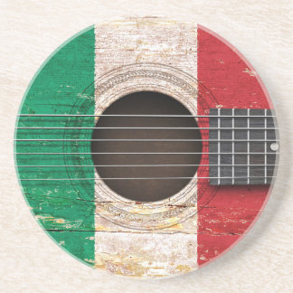 Italian Flag on Old Acoustic Guitar Coasters