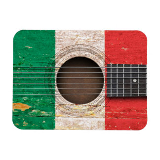 Italian Flag on Old Acoustic Guitar Flexible Magnets